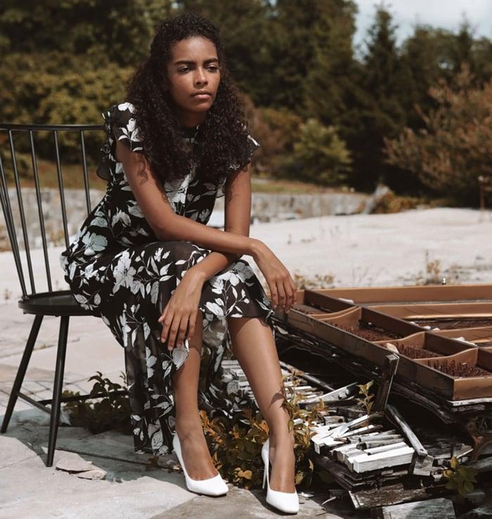Model wearing bright white leather square-toe Beth pumps in Sam Edelman's Pre-Fall 2020 campaign