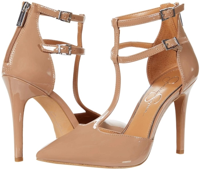 Dual ankle straps double the modern attitude of a pointy-toe pump that delivers outfit-making glamour