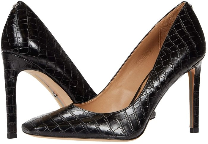 Black leather crocodile-stamped Beth square-toed stilettos