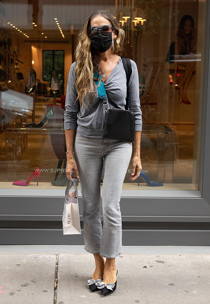 Sarah Jessica Parker makes a trip to her Midtown, Manhattan SJP store in a monochromatic gray outfit