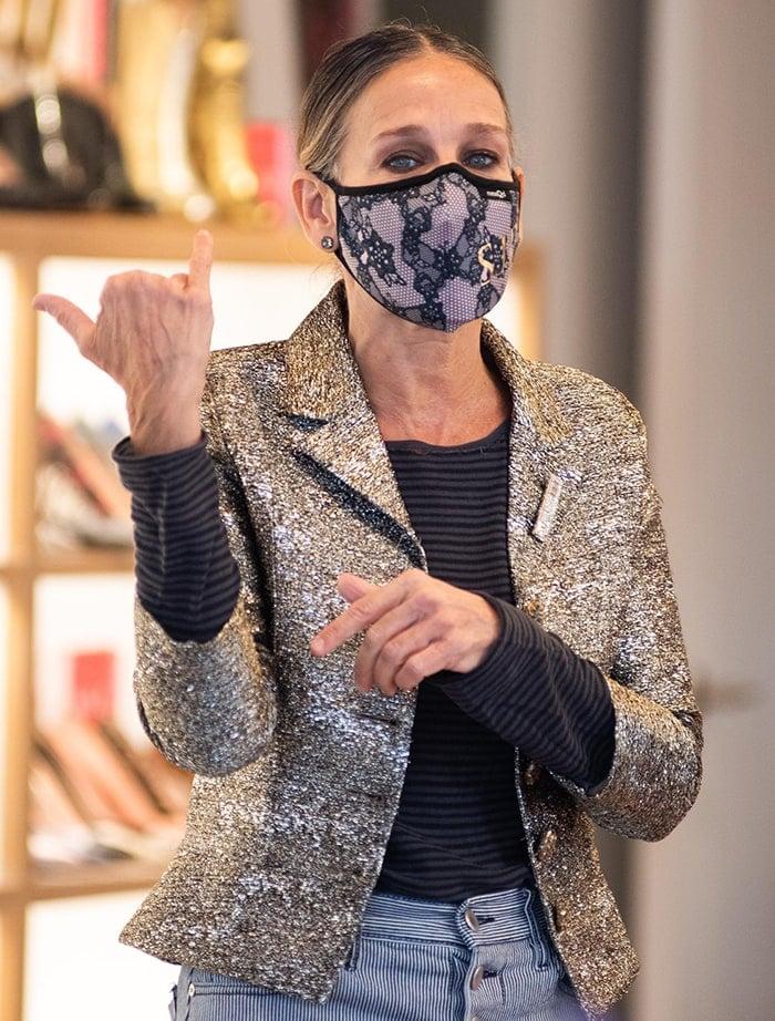 Sarah Jessica Parker wears a custom Masqd lace face mask
