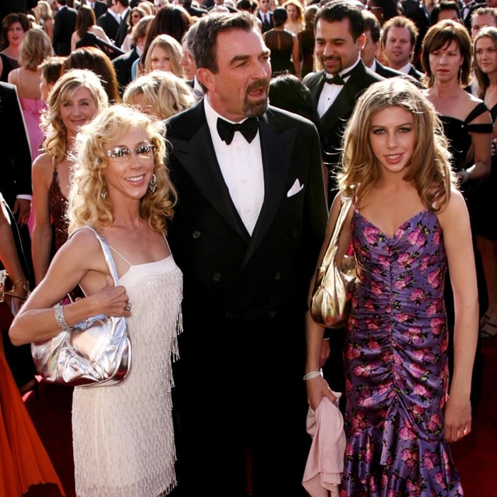 Hannah Margaret Selleck with her dad Tom Selleck and her mom Jillie Mack at the 2004 Emmy Awards