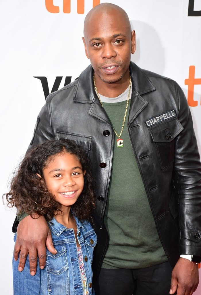 """Dave Chappelle and his daughter Sonal attend the """"A Star Is Born"""" premiere during the 2018 Toronto International Film Festival"""