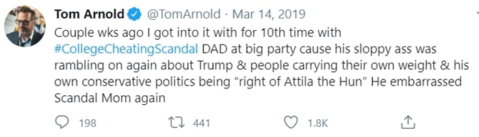 Roseanne Barr's ex-husband Tom Arnold tweets about meeting Mossimo Giannulli
