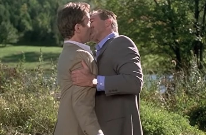 Tom Selleck's 12-second kiss with Kevin Kline in In & Out, a 1997 American comedy film, in which he plays gay on-camera entertainment reporter Peter Malloy