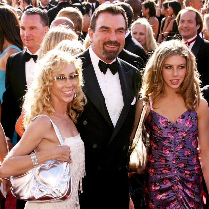 Tom Selleck with his wife Jillie Mack and his daughter Hannah Margaret Selleck at the 2004 Emmy Awards