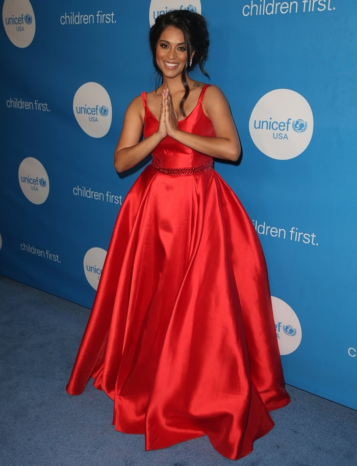 UNICEF Goodwill Ambassador Lilly Singh wore a Madison James gown, Sarah Flint heels, and Cirari jewelry at the Seventh Biennial UNICEF Ball: Los Angeles
