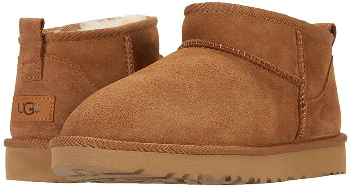 An ultra-short shaft adds a twist to this abbreviated version of a classic UGG boot