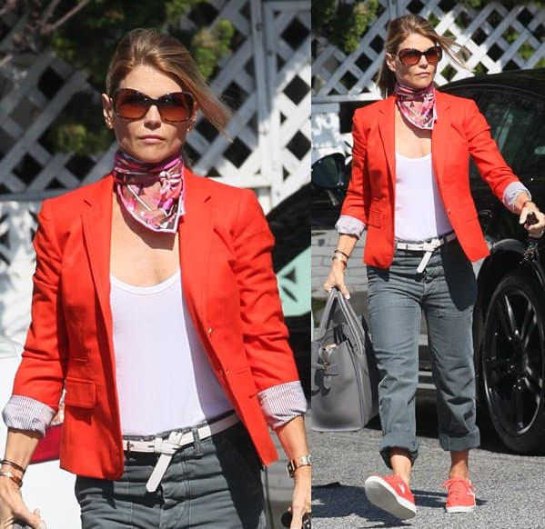 Lori Loughlin decked in bright orange and a pink printed scarf