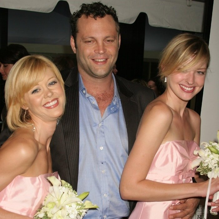 Actor Vince Vaughn poses on the red carpet bridesmaids