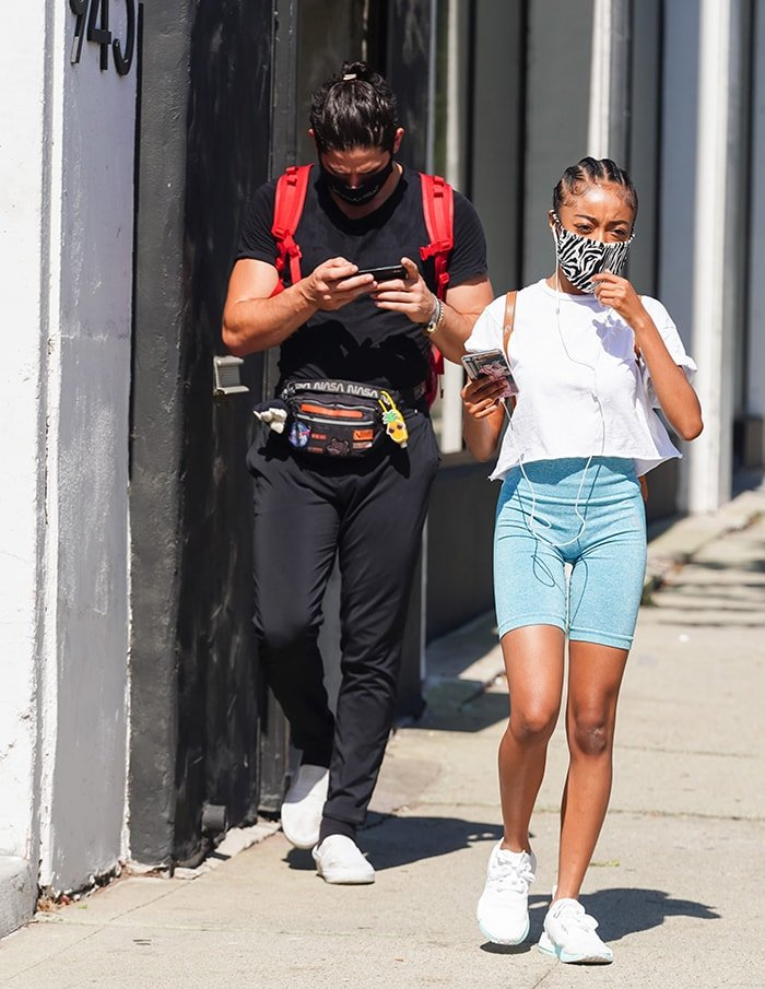 Alan Bersten and Skai Jackson at the Dancing With the Stars rehearsal studios in Los Angeles on October 16, 2020