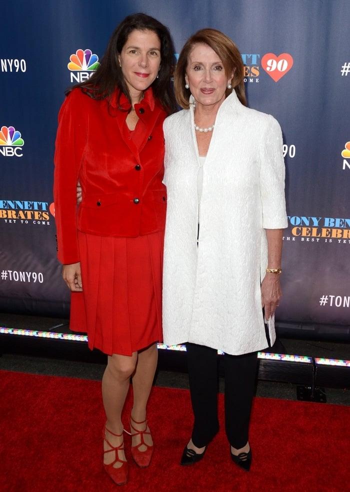 Nancy Pelosi posing with one of her five children, American journalist, documentary filmmaker, and writer Alexandra Pelosi