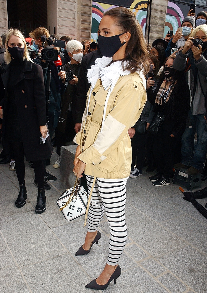 Alicia Vikander at the Louis Vuitton Spring/Summer 2021 during Paris Fashion Week on October 6, 2020