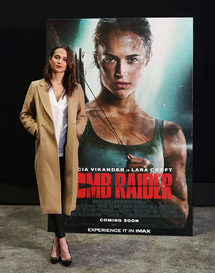 Alicia Vikander as Lara Croft in the Tomb Raider movie reboot released in March 2018