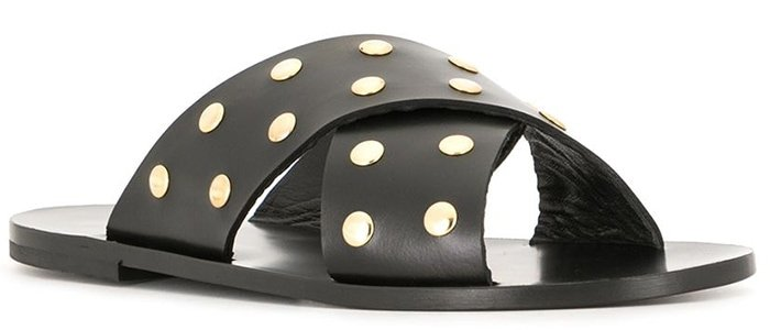The easiest flat sandals to slip on and off, accented with edgy circle stud embellishments in yellow gold