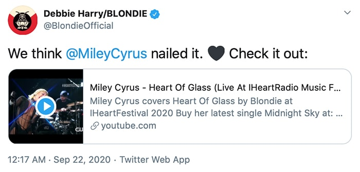 Blondie's Debbie Harry approves of Miley Cyrus' Heart of Glass performance