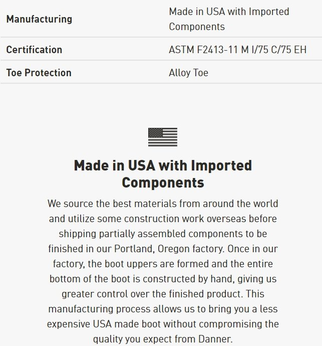 You can check Danner's website to see if the product you're intending to buy was made in the USA