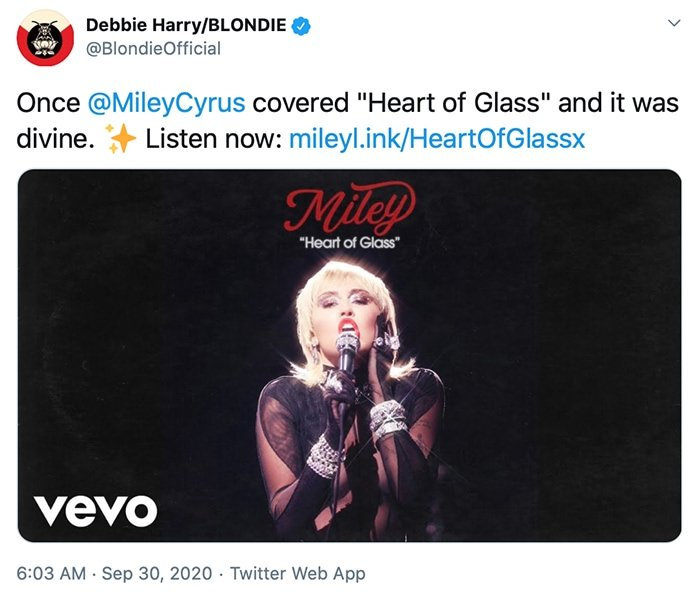 "Debbie Harry calls Miley Cyrus' Heart of Glass cover ""divine"""