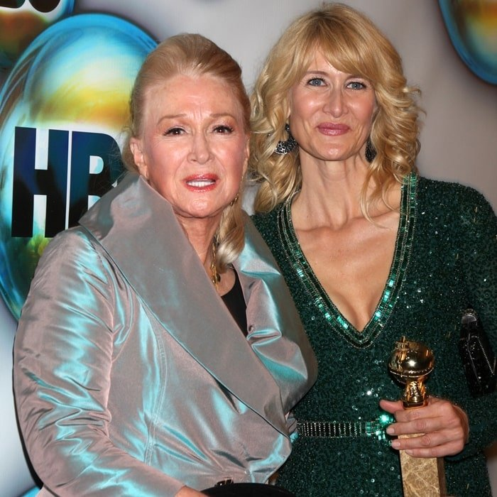 Actresses Diane Ladd (L) and Laura Dern attend HBO's Post 2012 Golden Globe Awards Party