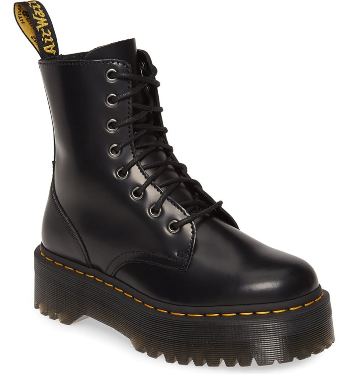 A thick Quad Retro sole boosts a smooth leather mid-calf boot with an '80s-rewind profile