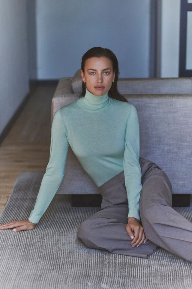 Irina Shayk promotes Falconeri, an Italian brand specialized in the production of knitwear and cashmere for men and women