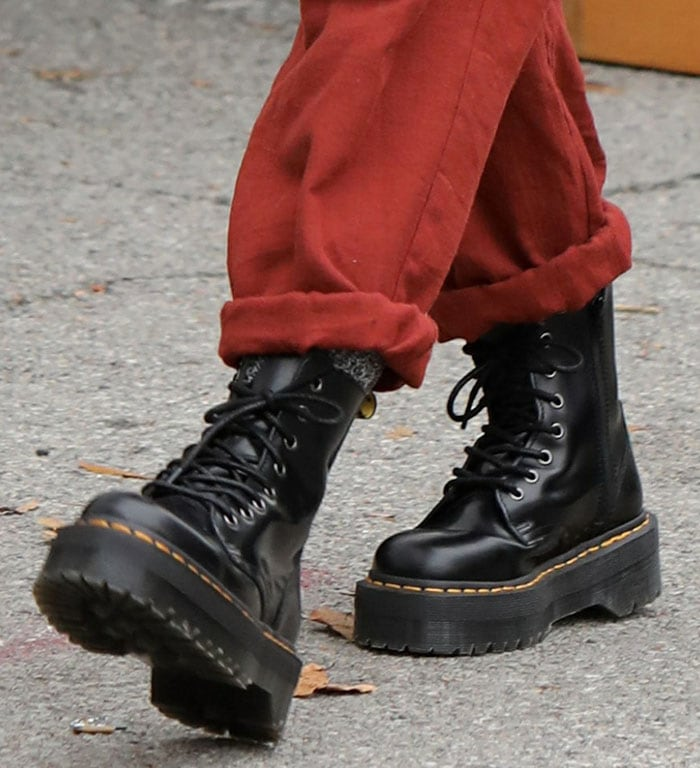 Hilary Duff slips into a pair of Dr. Martens classic boots