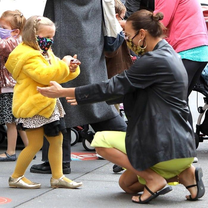 Irina Shay picks up her daughter Lea De Seine from school on October 19, 2020