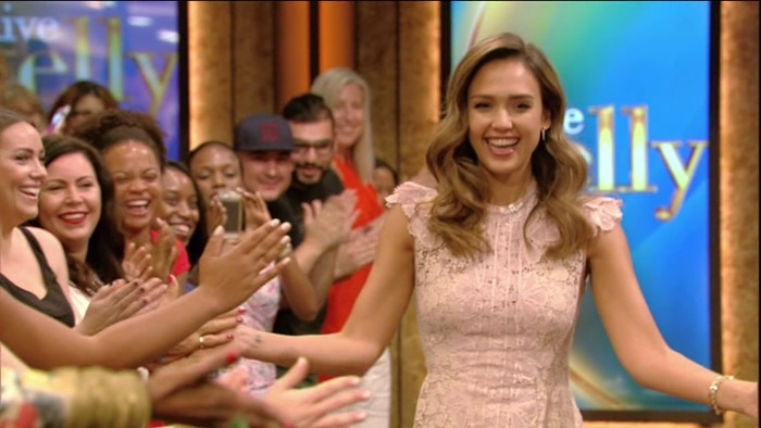 Jessica Alba promotes her 'Honest' product line during an appearance on ABC's Live with Kelly and Ryan