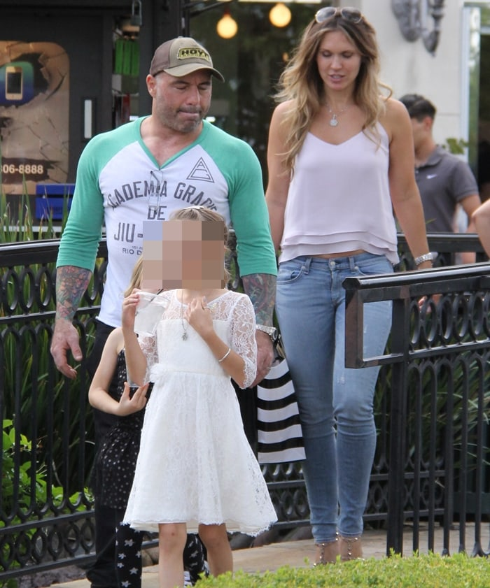 Joe Rogan with his wife Jessica Ditzel and two daughters