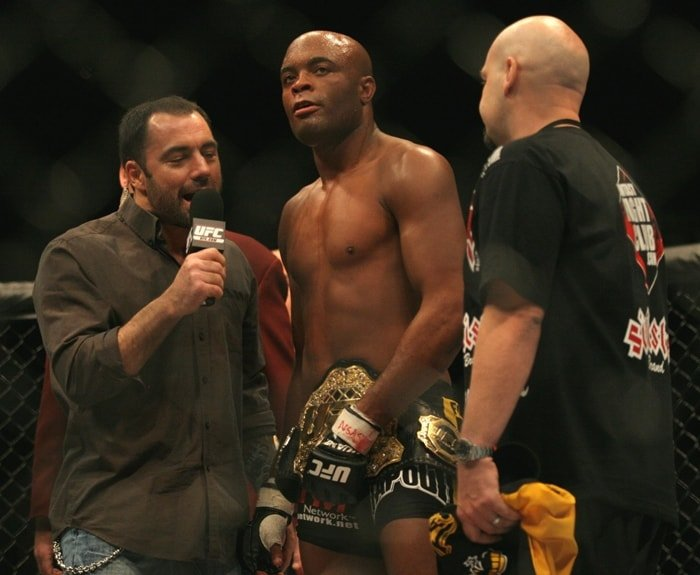 "Joe Rogan (L) interviews Anderson Silva after the fight The UFC 67 (mix martial arts) ""All or Nothing"""