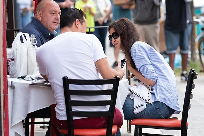 Katie Holmes lunches with boyfriend and his dad, Emilio Vitolo Sr., at Emilio's Ballato in NYC on September 25, 2020