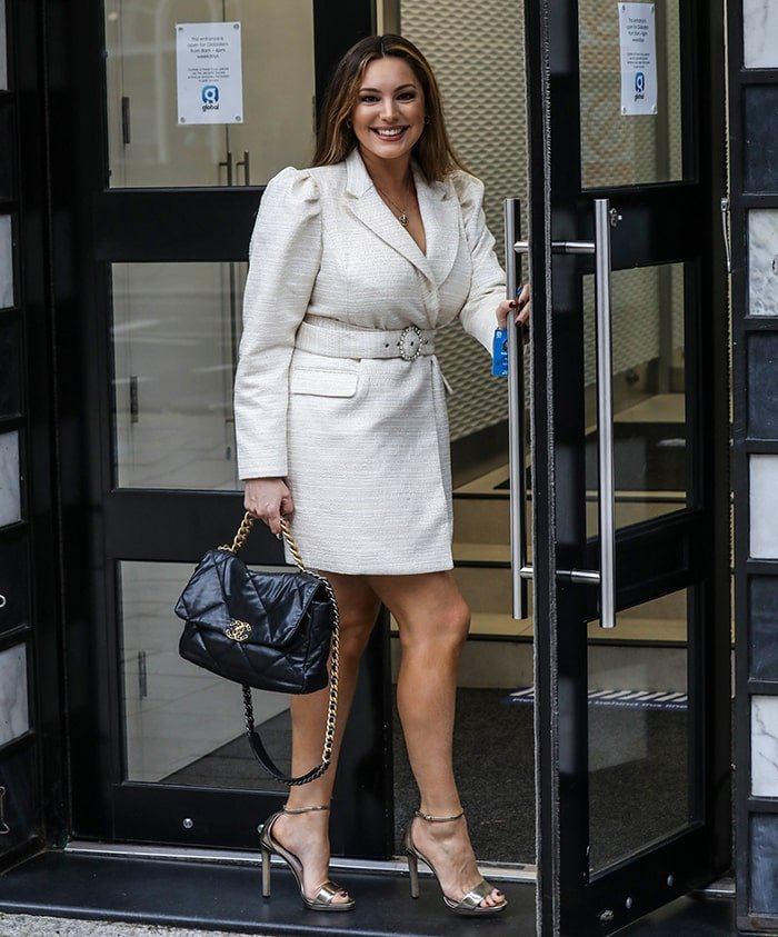 Kelly Brook arriving at The Global Radio Studios in London on October 16, 2020