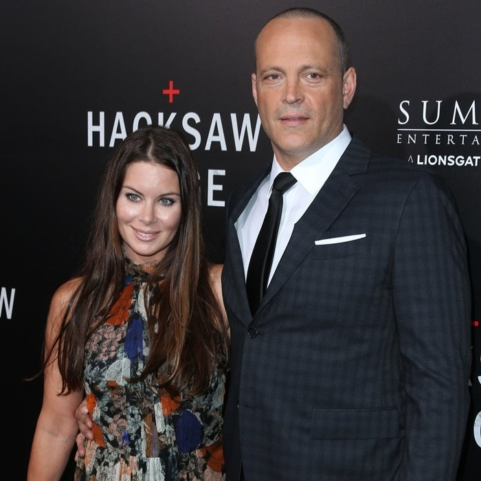"Kyla Weber (L) and her husband Vince Vaughn arrive at the screening of Summit Entertainment's ""Hacksaw Ridge"""