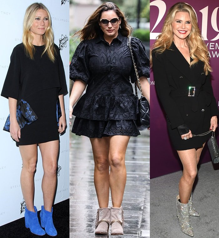 Gwyneth Paltrow, Kelly Brook, and Christie Brinkley team LBDs with contrasting ankle boots