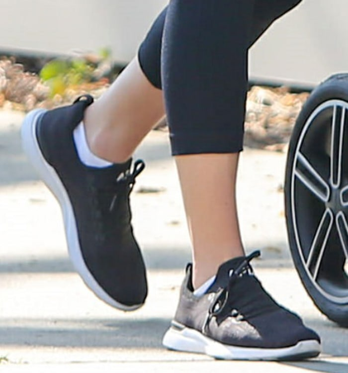 Lea Michele completes her athleisure look with APL sneakers