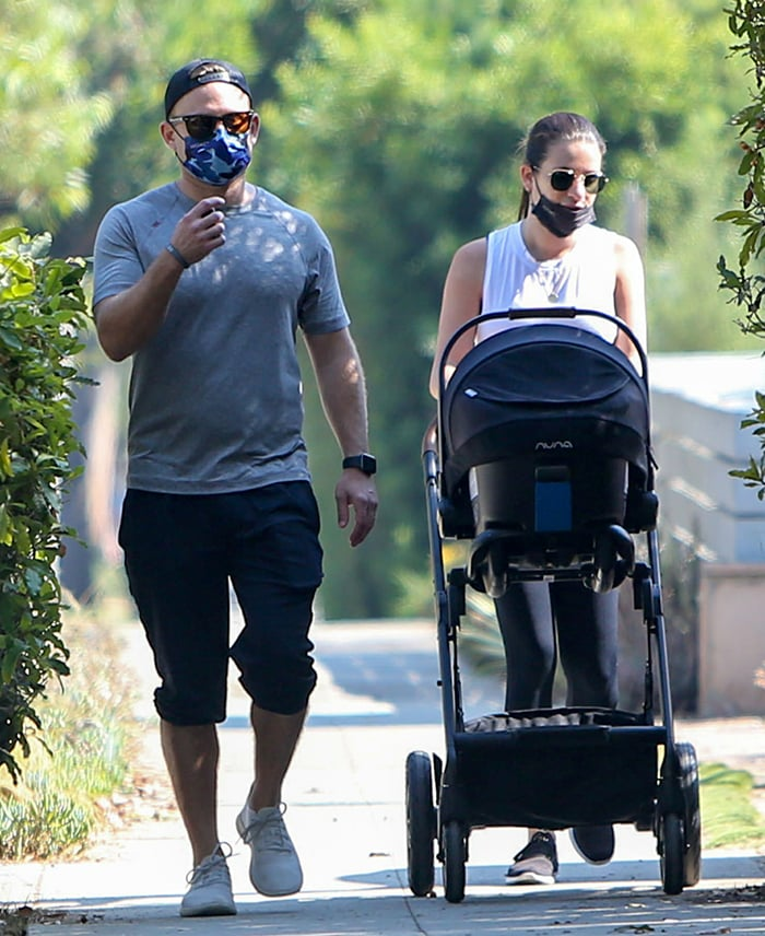 Zandy Reich and wife Lea Michele on a stroll with baby Ever Leo in Santa Monica on October 6, 2020