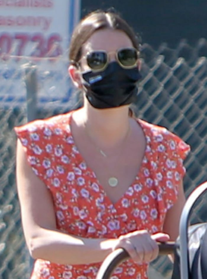 Lea Michele stays safe with a black face mask for their afternoon stroll