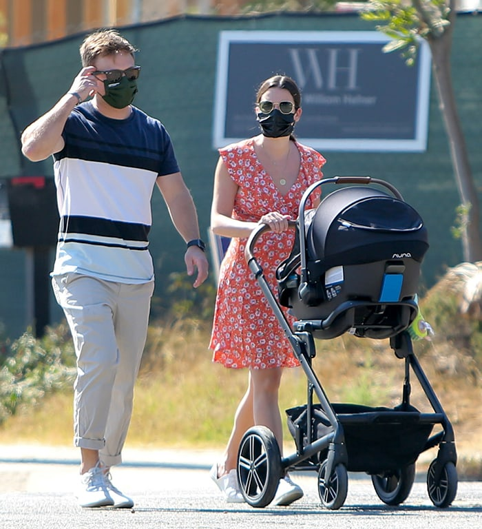 Zandy Reich and Lea Michele bring baby Ever Leo out in Los Angeles on October 13, 2020