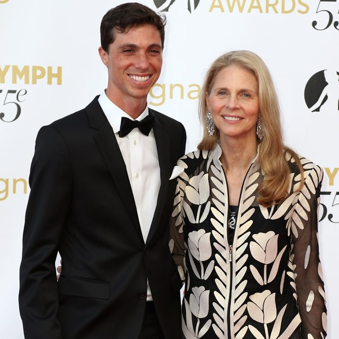Lindsay Wagner (R) and her son Alexi Kingi attend the 55th Monte Carlo Beach anniversary