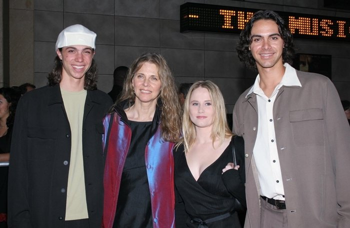 Actress Lindsay Wagner poses with her sons Dorian (L) and Alex