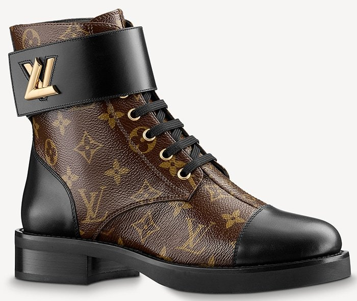 Ranger boot accessorized with the LV Twist buckle seen on leather goods