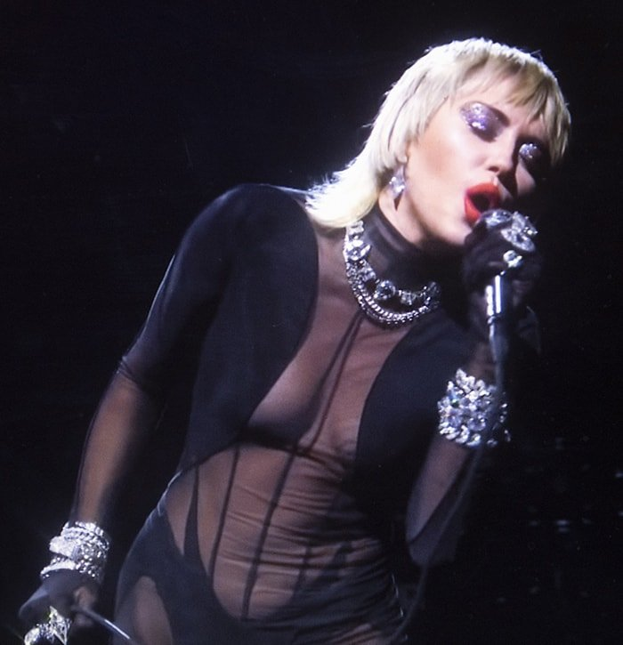 Miley Cyrus in a racy Thierry Mugler see-through mesh catsuit for iHeartRadio Music Festival 2020 on September 19, 2020