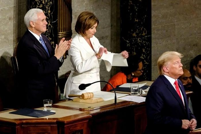 House Speaker Nancy Pelosi tore a copy of President Donald Trump's State of the Union speech