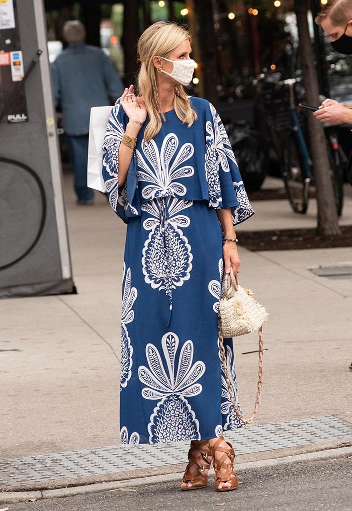 Nicky Hilton goes on a solo shopping trip wearing La DoubleJ's blue Bain Douche dress in SoHo