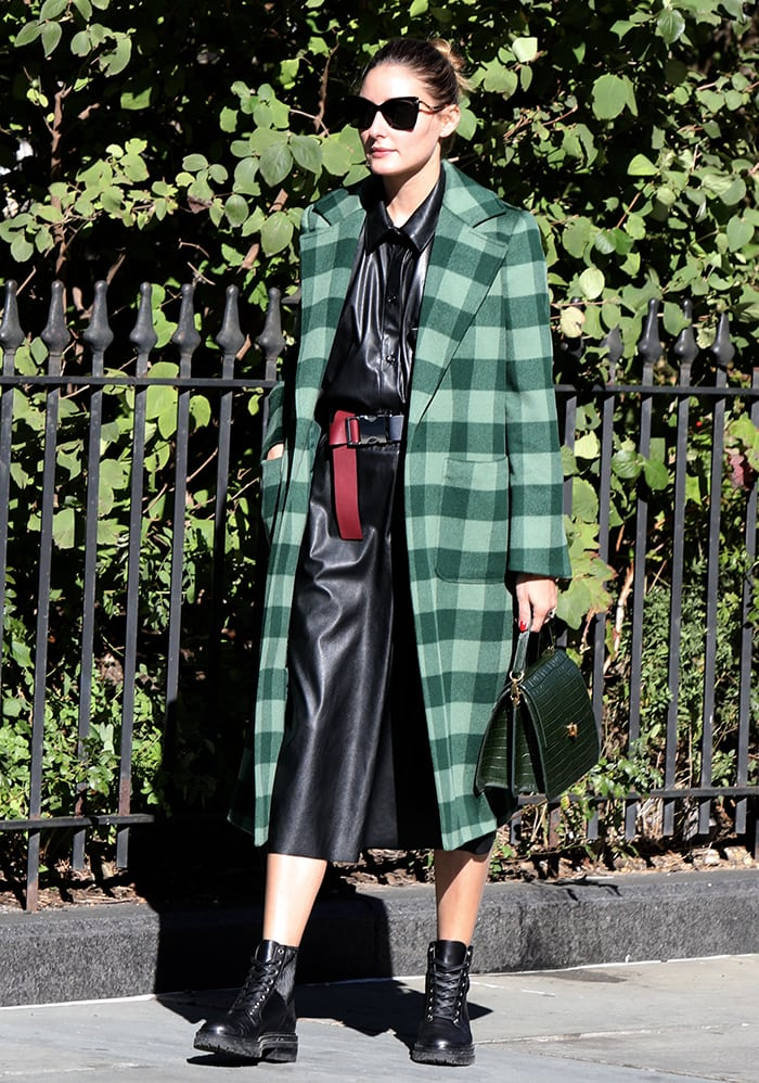 Olivia Palermo in a Max & Co. checkered green coat with a leather tunic and coated culottes