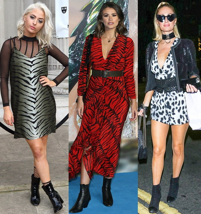 Chloe Paige, Sophie Porley, and Paris Hilton in animal-print dresses with pointed-toe ankle boots