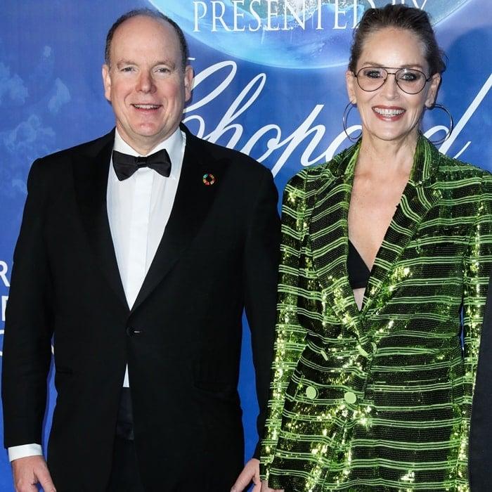 Prince Albert II and Sharon Stone arrive at the 2020 Hollywood For The Global Ocean Gala Honoring HSH Prince Albert II Of Monaco