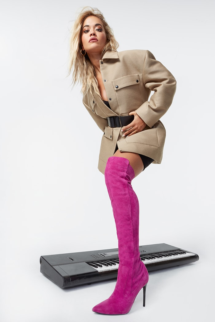 Rita Ora wows in a belted coat and Let You Love Me thigh-high hot-pink boots