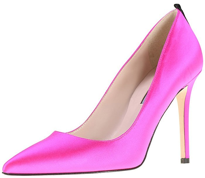 Pink satin SJP by Sarah Jessica Parker pointed-toe pumps with grosgrain trim at the heel