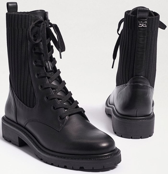 The Sam Edelman Lydell boot features a round toe and is made from leather with textile upper
